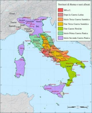 Espansione di Roma nella penisola italica.