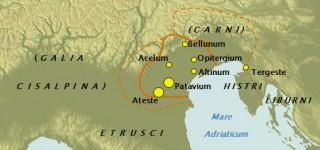 Civiltà degli antichi Veneti. Il territorio di Battaglia si trova tra Patavium e Ateste.