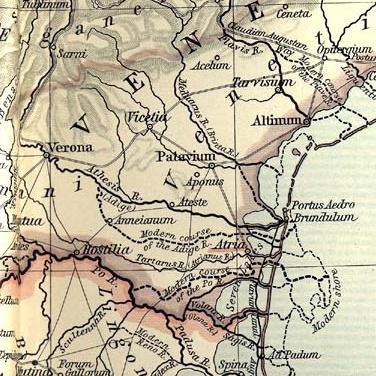 La pianura veneta in epoca romana. La zona di Battaglia è vicina ad Aponus (Abano).