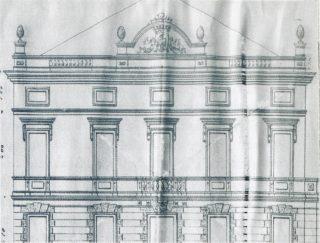 1913, progetto dell'ing. Pilotti di innalzamento del Municipio di Battaglia.