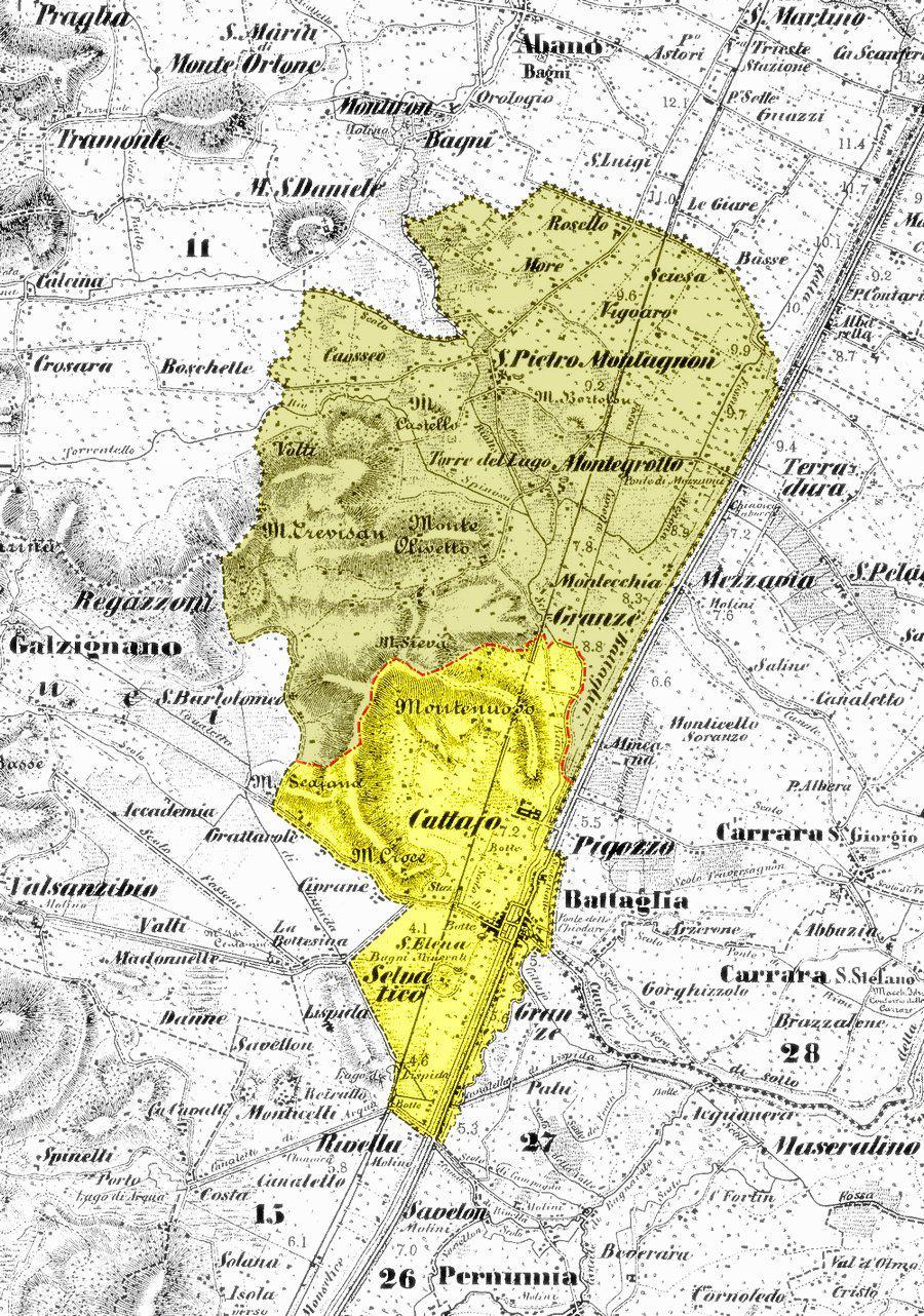 Nel 1921 S. Pietro Montagnon, attuale Montegrotto, si separa da Battaglia e diviene Comune.