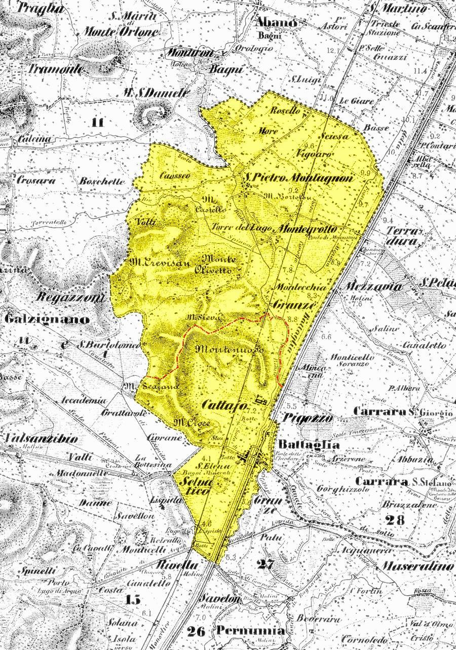 Il confine amministrativo di Battaglia, comprendente anche la frazione di San Pietro Montagnon, prima della definitiva separazione del 1921.
