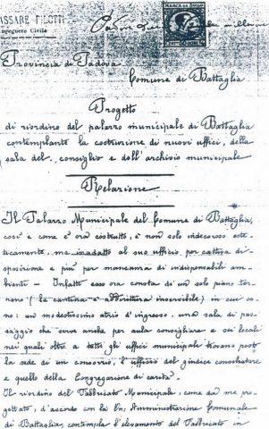 1913, riordino del palazzo municipale di Battaglia. Relazione dell'ing. Pilotti.
