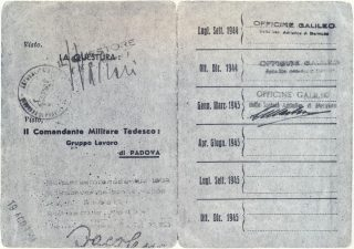 Officine Galileo di Battaglia Terme, interno della tessera personale di lavoro.