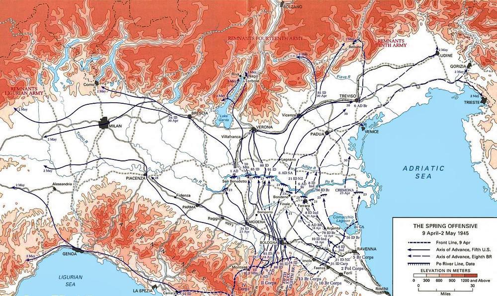 1945, mappa dell'offensiva angloamericana nel Norditalia.