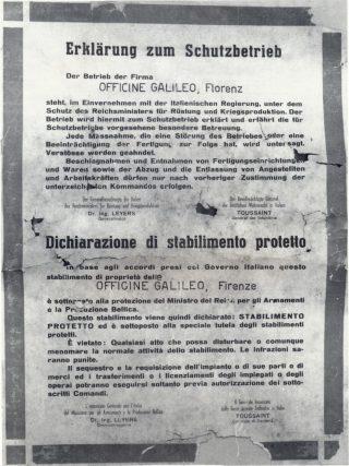 """Le Officine Galileo di Firenze, sede di Battaglia Terme, sono dichiarate """"stabilimento protetto""""."""