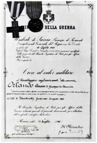 Documento attestante il conferimento della Croce al valor militare ad Orlando Cesare.