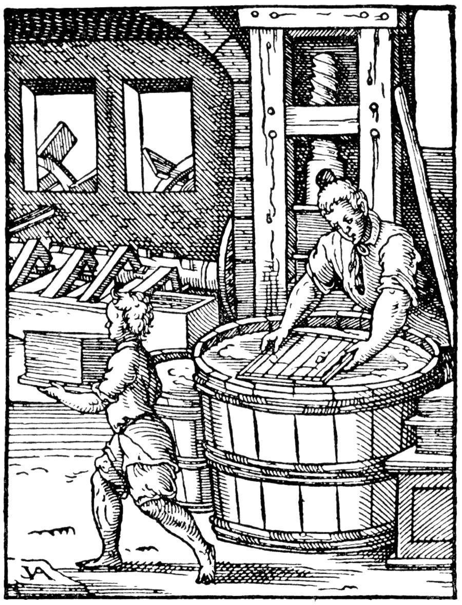 Produzione della carta a mano. Incisione risalente alla seconda metà del XVI secolo.