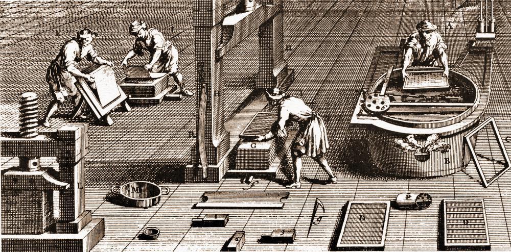 Le fasi centrali della produzione della carta.