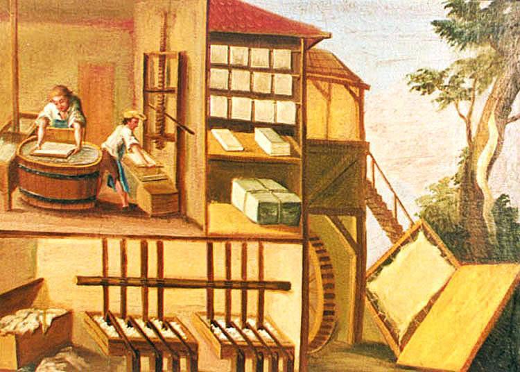 La cartiera. Immagine didattica realizzata per la scuola di Zlatà Koruna (Repubblica Ceca).