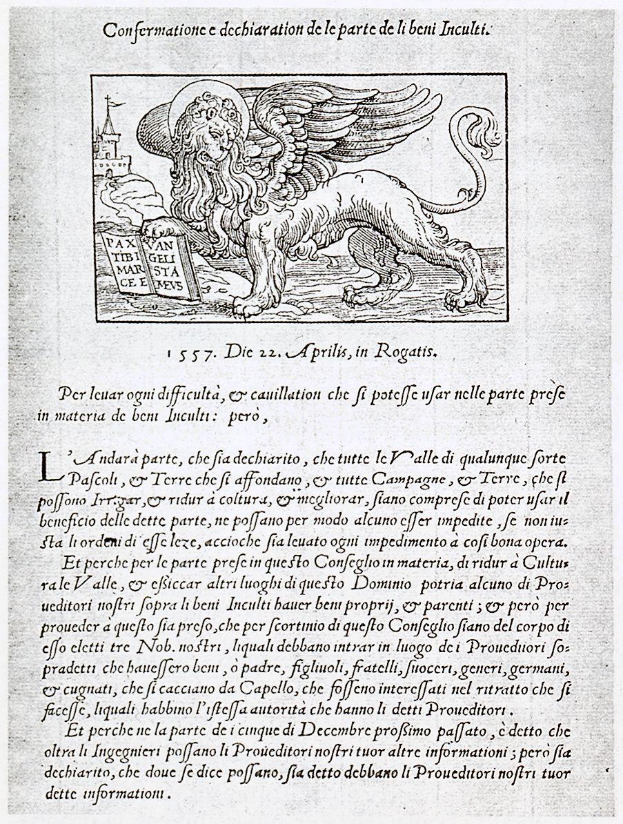 Bonifica delle valli tra Battaglia ed Este, proclama a stampa del 1557.