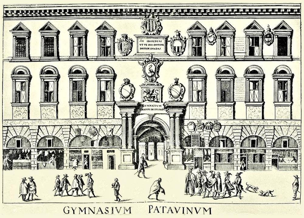 Facciata dell'Università di Padova ai tempi di Galileo.