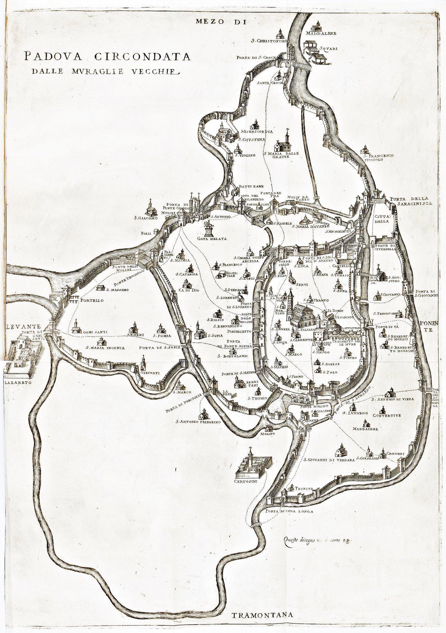 Vincenzo Dotto, Padova circondata dalle muraglie vecchie, 1623.