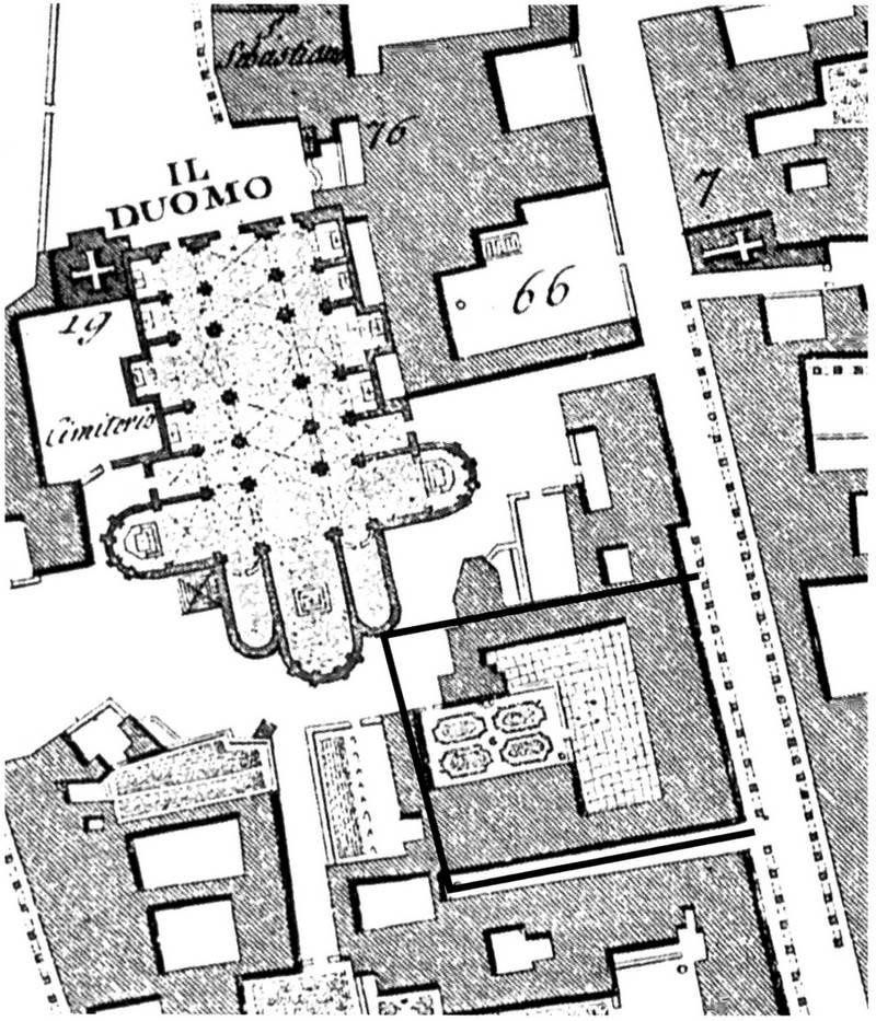 Area intorno alla Cattedrale di Padova. Disegno di Giovanni Valle.