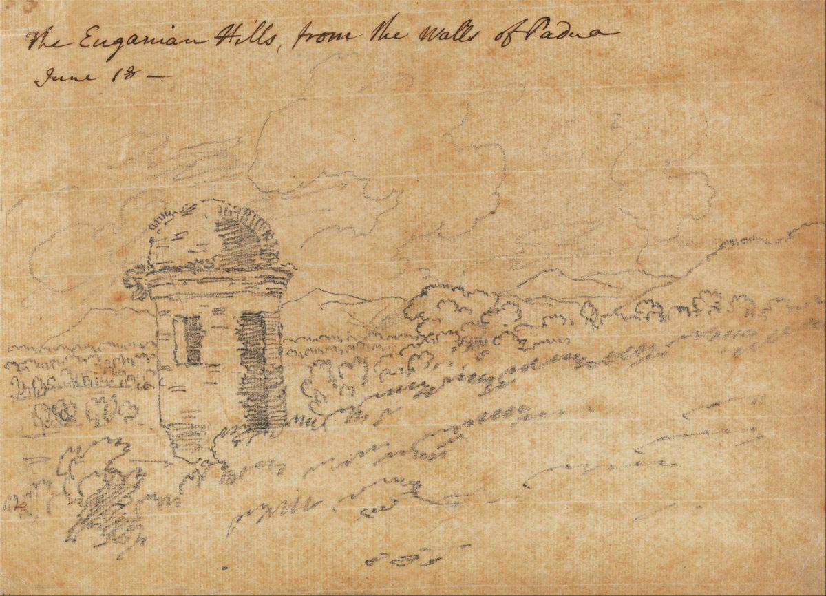 John Robert Cozens, I Colli Euganei, matita su carta.