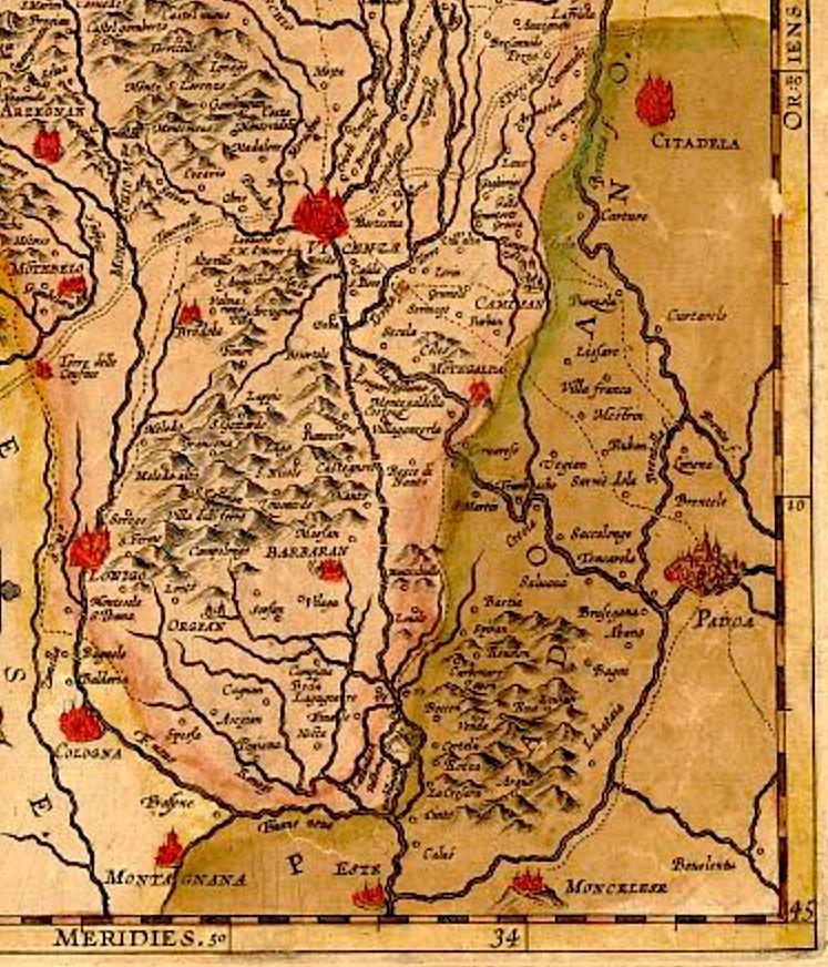 Filippo Pigafetta, particolare della Mappa del territorio vicentino del 1608 in cui sono raffigurati i Colli Euganei e i Monti Berici.