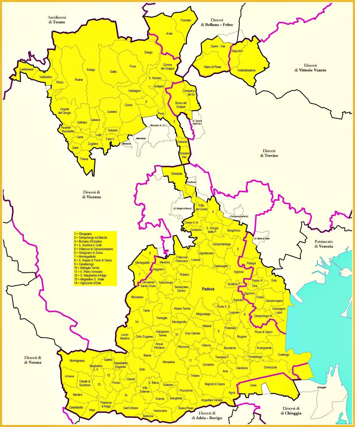Mappa della diocesi di Padova.