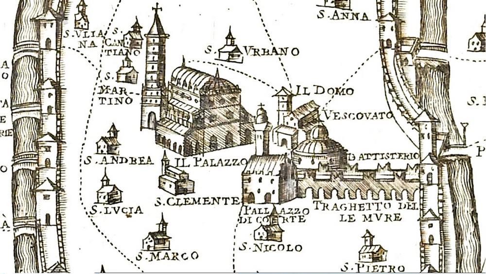 Il Duomo e il Battistero di Padova in una mappa pubblicata nel 1623.