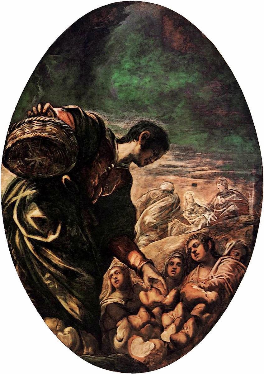 Tintoretto, Eliseo moltiplica i pani. 1577-78, Scuola Grande di San Rocco, Venezia.