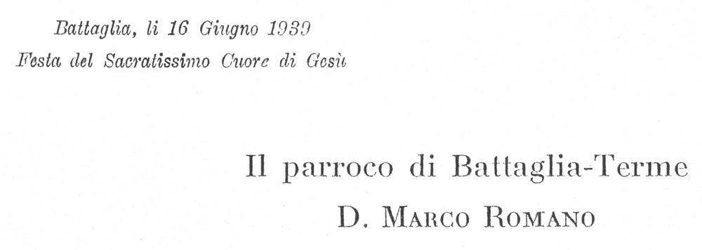 Firma di don Marco Romano a conclusione dell'introduzione.
