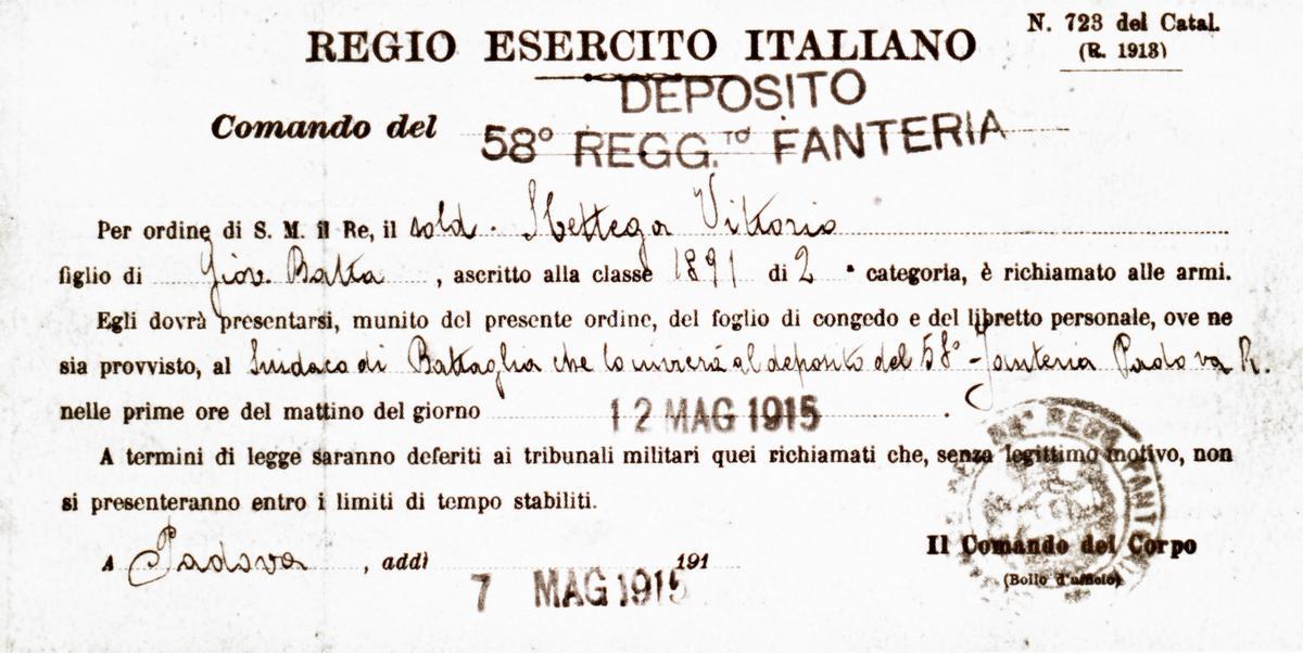 Il foglio d'ordine del 1915 con cui Sbettega Vittorio venne richiamato alle armi.