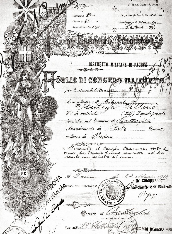 Il foglio di congedo illimitato del caporale Sbettega Vittorio.