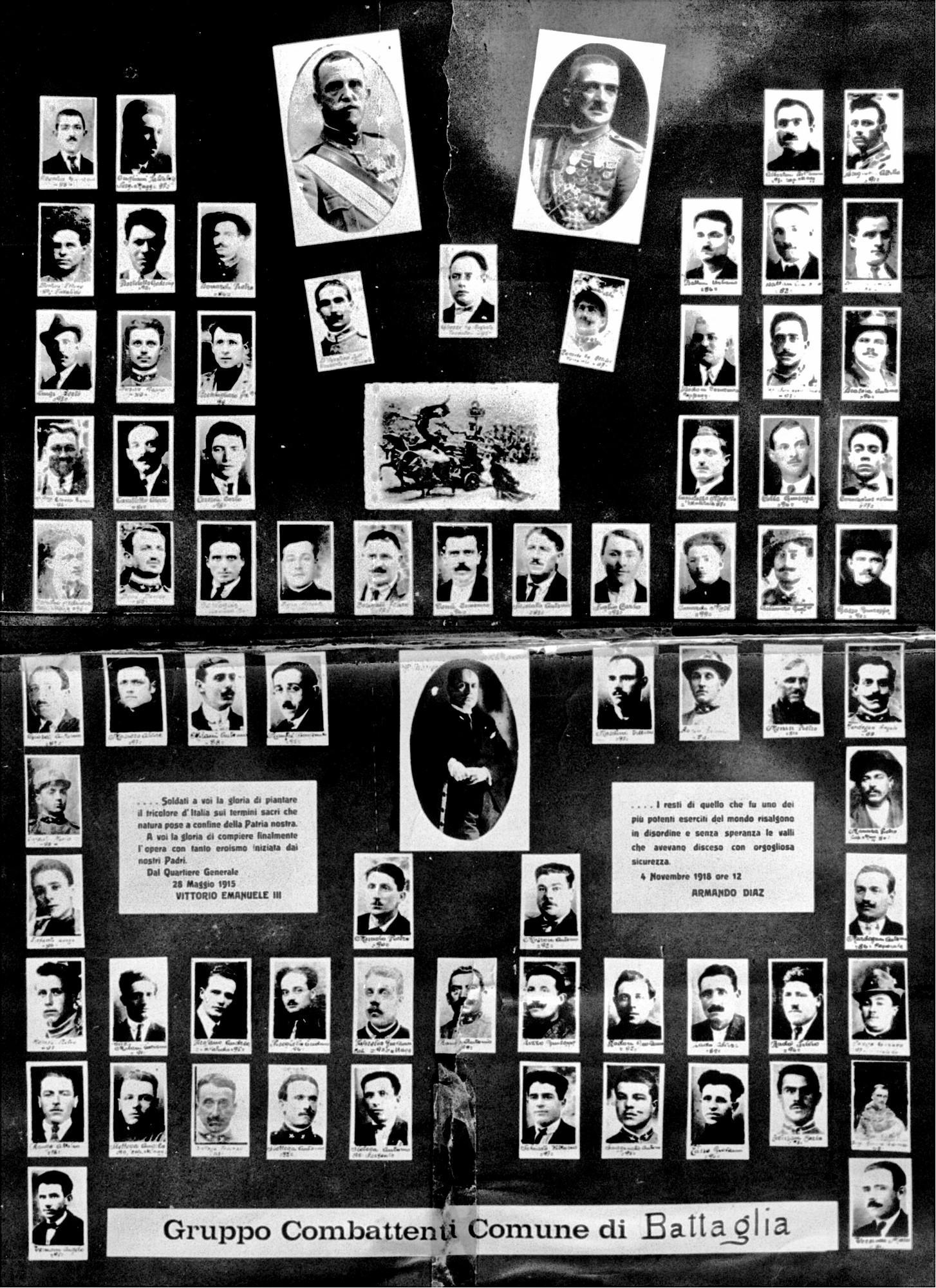 Una parte degli oltre seicento soldati battagliensi che presero parte alla Grande Guerra.