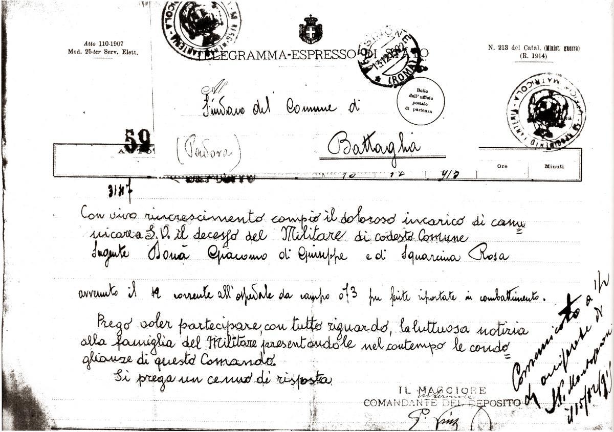 Il telegramma con cui venne comunicato il decesso del sergente Donà Giacomo.