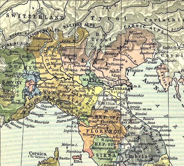 Gli Stati dell'Italia settentrionale nel 1494.