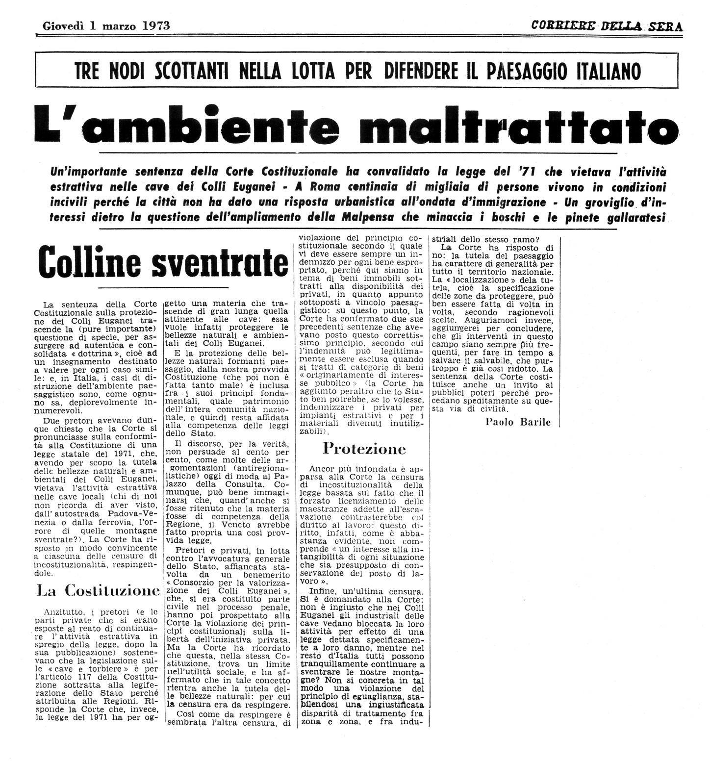 L'ambiente maltrattato. Articolo dell'1 marzo 1973.