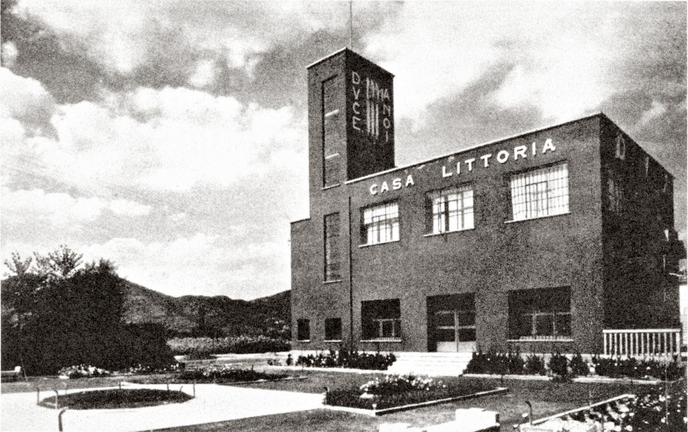 Battaglia Terme, Casa del fascio. Veduta del fronte sud, 1940 circa.