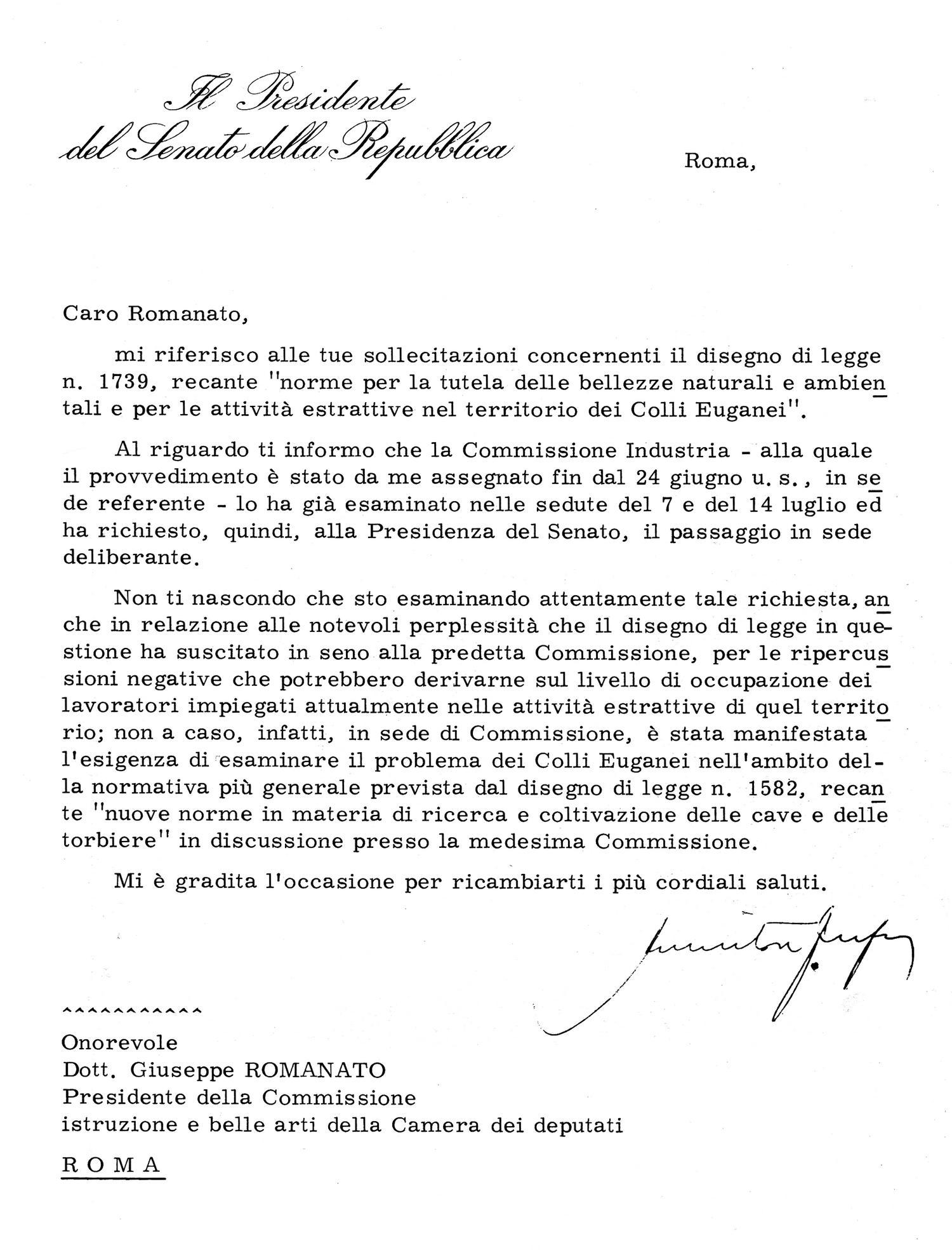Lettera del Presidente Fanfani del 20 luglio 1971.