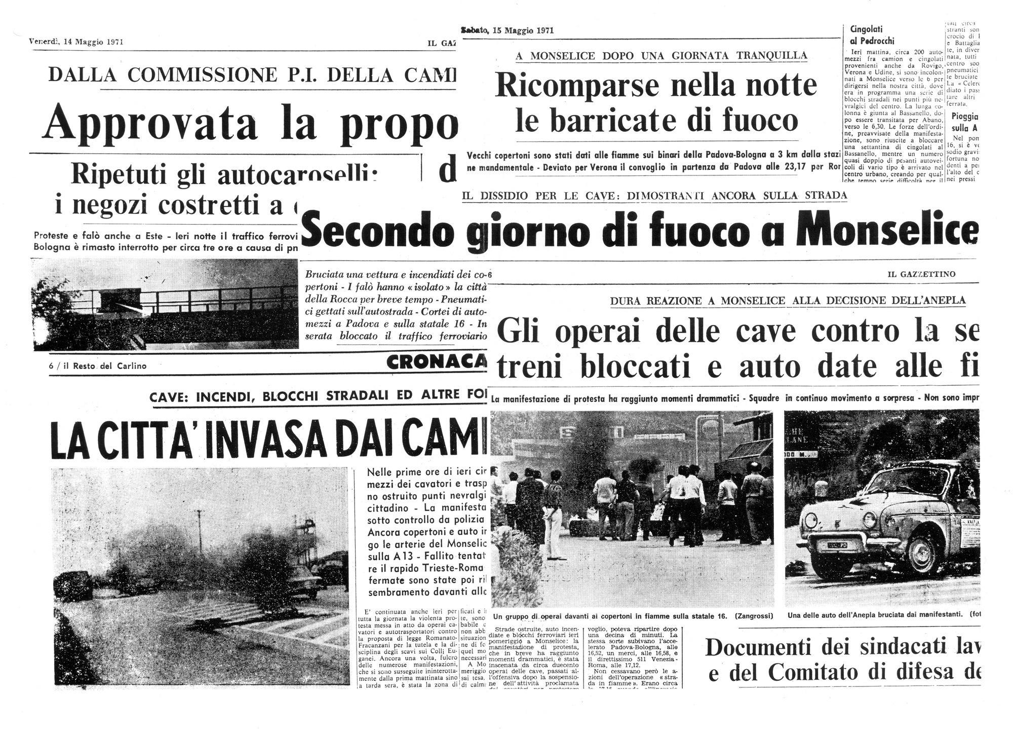 Colli Euganei, maggio 1971: una settimana di fuoco.