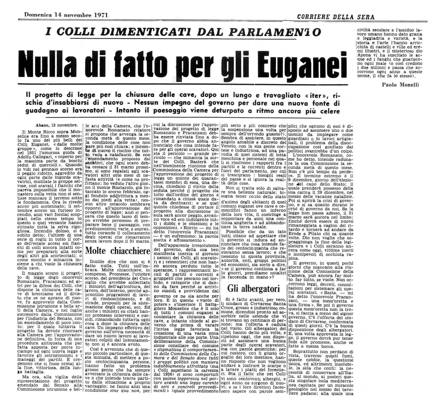 Nulla di fatto per gli Euganei. Articolo del 14 novembre 1971.