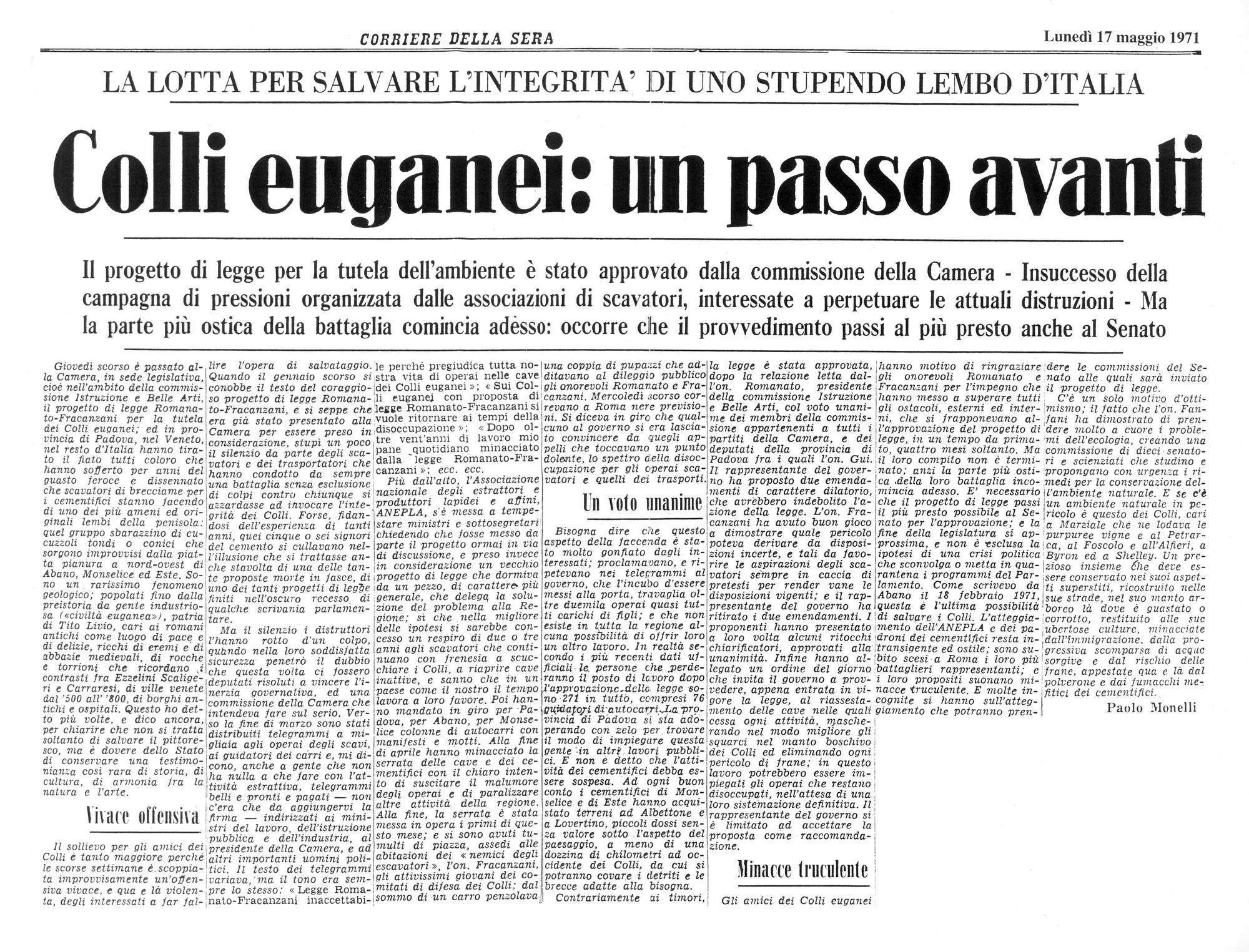 Colli Euganei: un passo in avanti. Articolo del 17 maggio 1971.