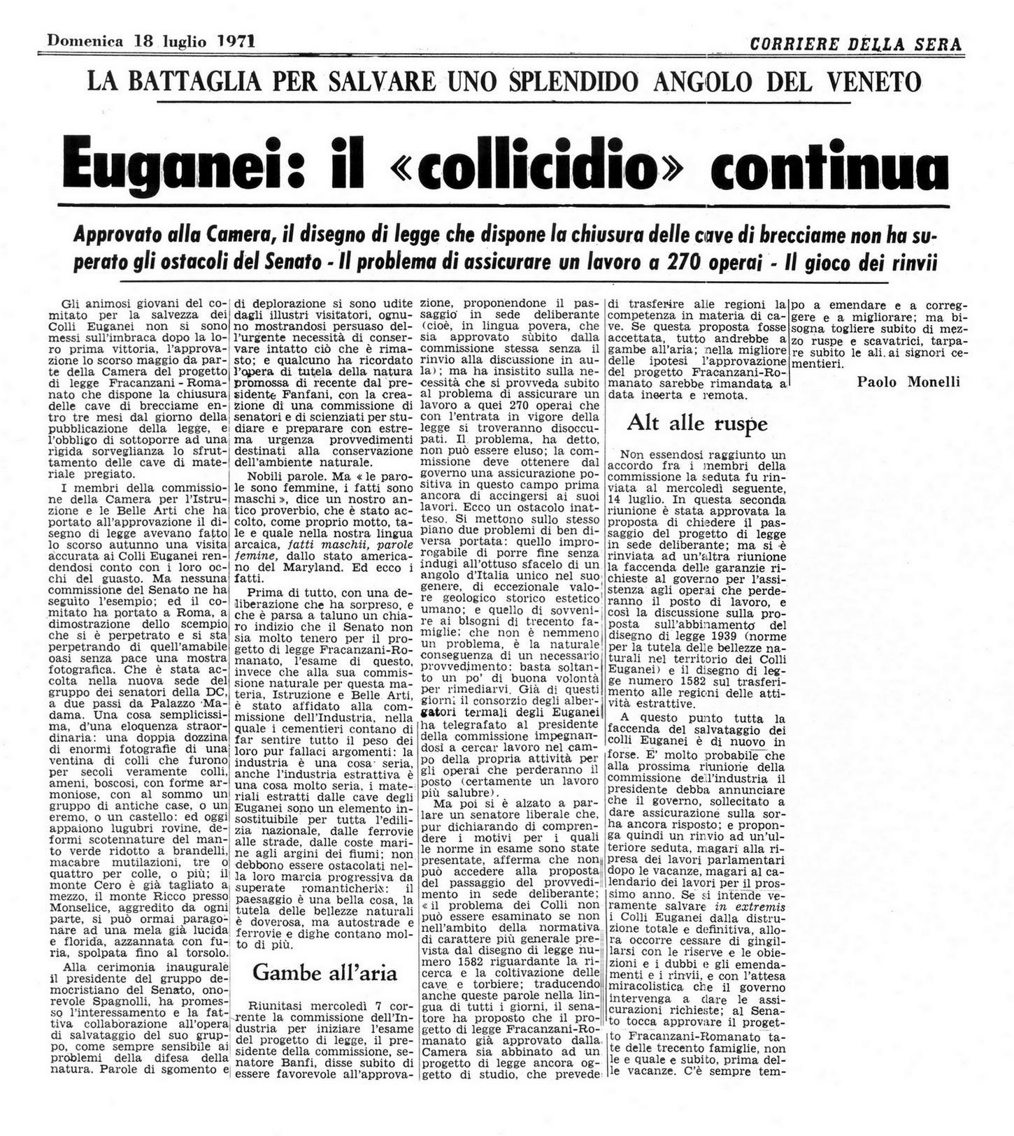 """Euganei: il """"collicidio"""" continua. Articolo del 18 luglio 1971."""