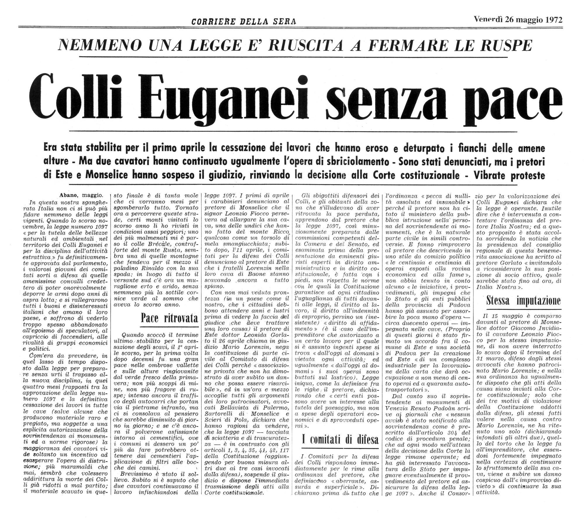 Colli Euganei senza pace. Articolo del 26 maggio 1972, prima parte.