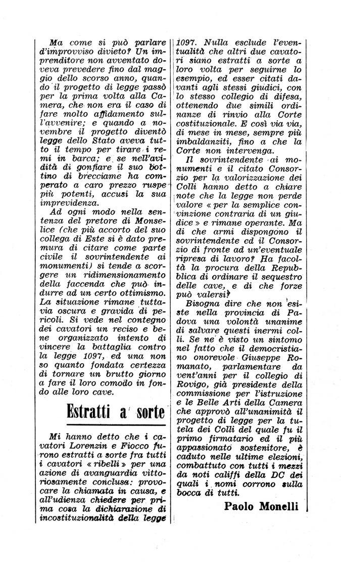 Colli Euganei senza pace. Articolo del 26 maggio 1972, seconda parte.