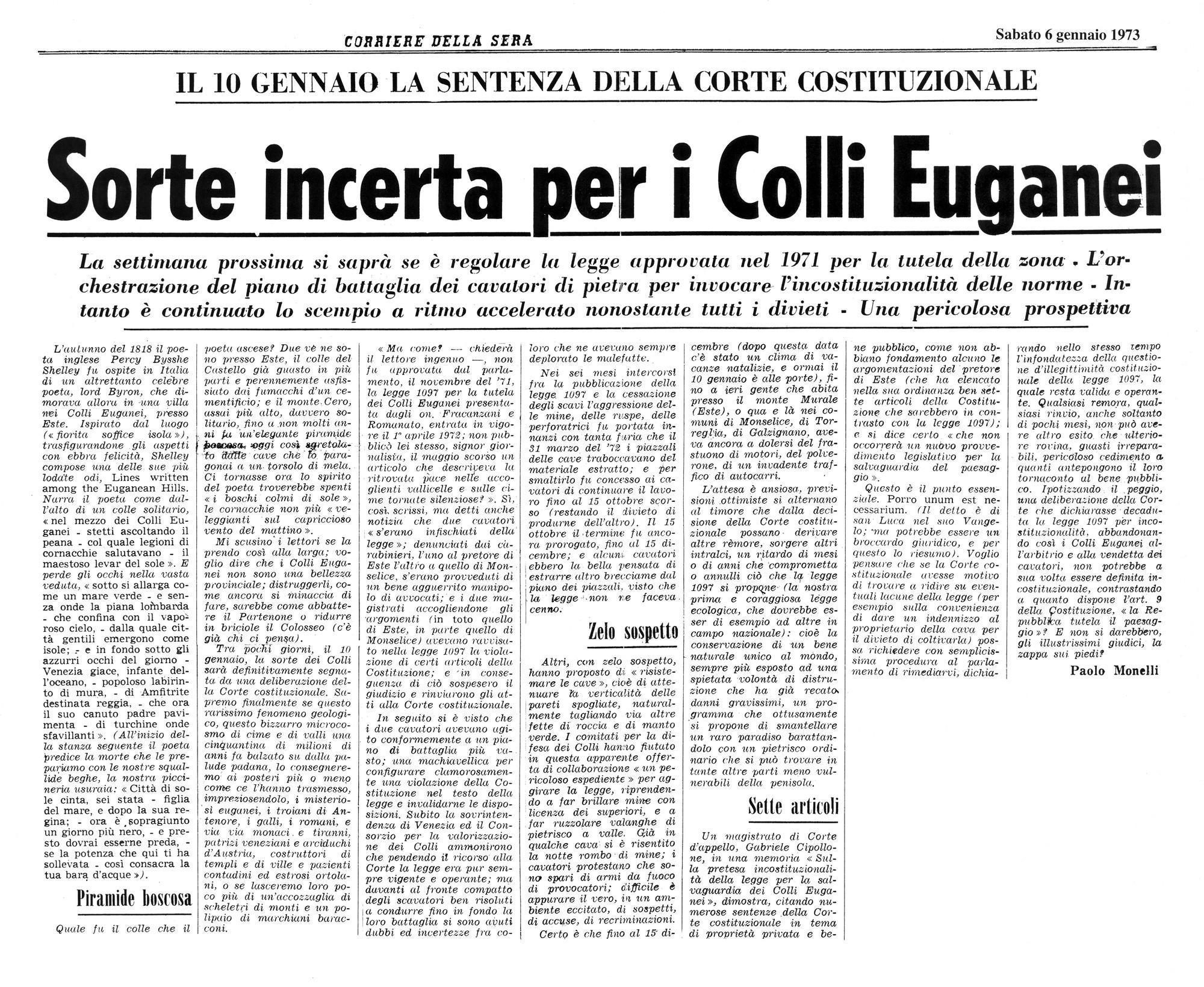Sorte incerta per i Colli Euganei. Articolo del 6 gennaio 1971.