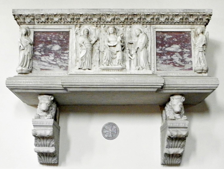Sarcofago marmoreo di Marsilio da Carrara. Abbazia di Carrara Santo Stefano (Due Carrare, PD).