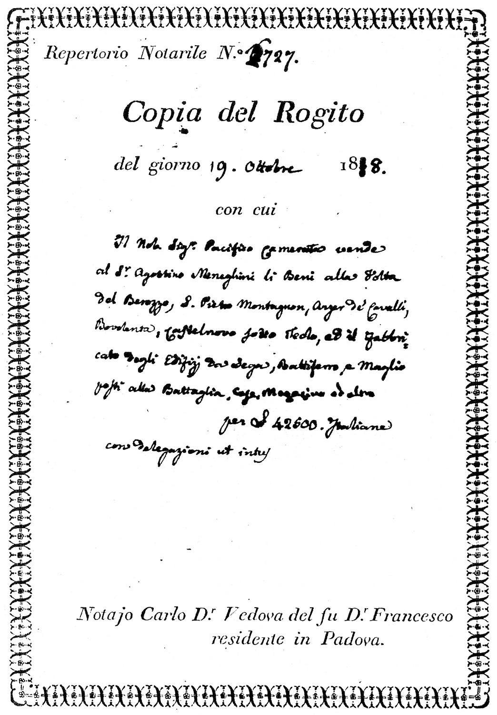 Copia del rogito che attesta la cessione di numerosi beni degli eredi Bernardo al possidente Agostino Meneghini.