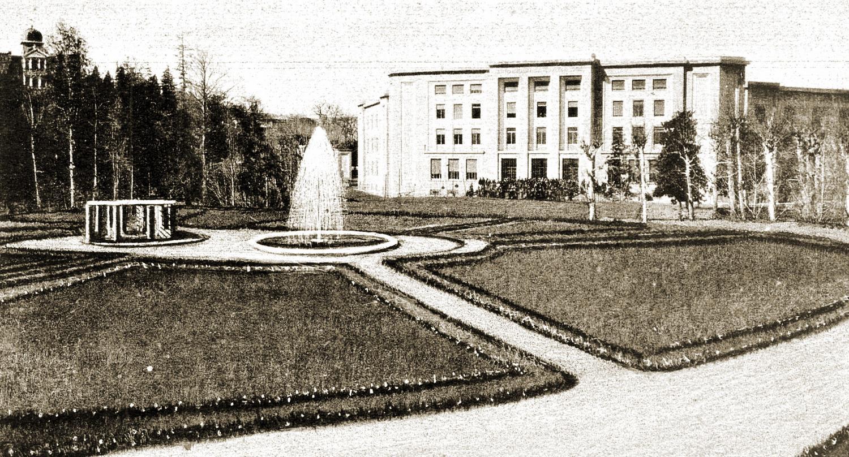 """Lo Stabilimento """"Terme dei Lavoratori"""" di Battaglia Terme, di proprietà dell'INFPS, in una foto del 1939."""