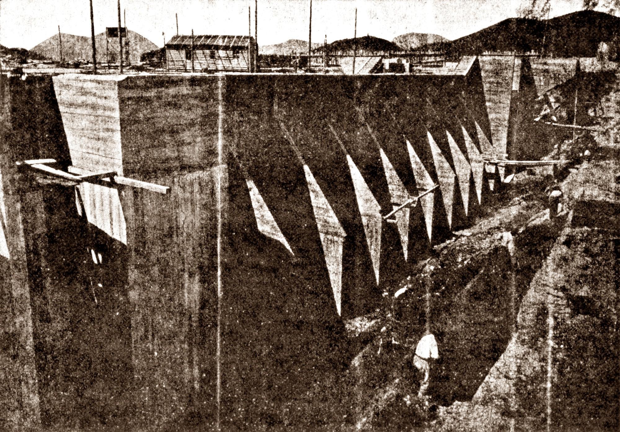 Conca di Battaglia, muro di fiancata rinforzato dai costoloni.