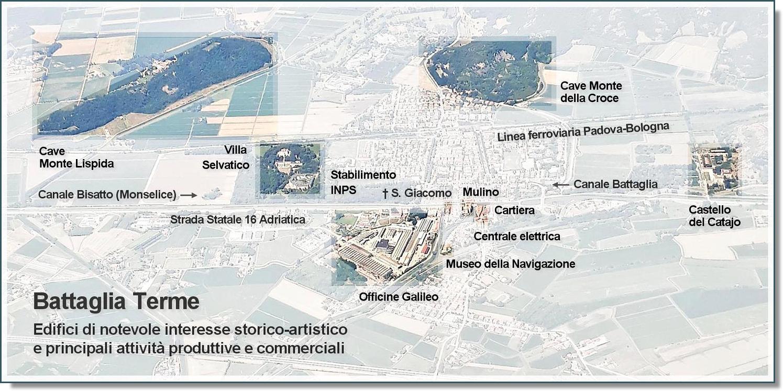 Importanti edifici e principali attività produttive e commerciali di Battaglia Terme.