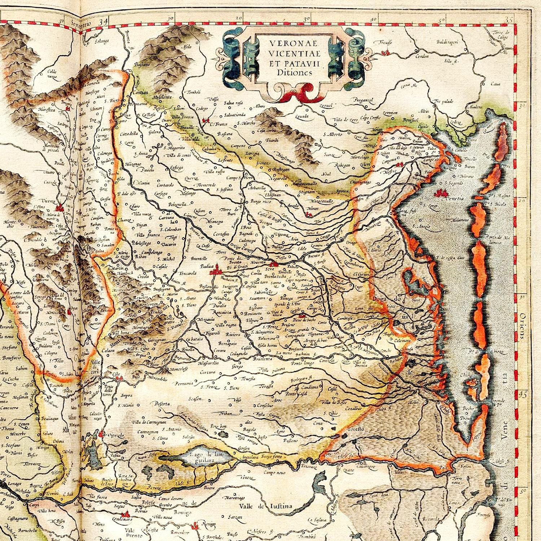 Territorio patavino. Particolare tratto dall'atlante di Mercatore del 1596.
