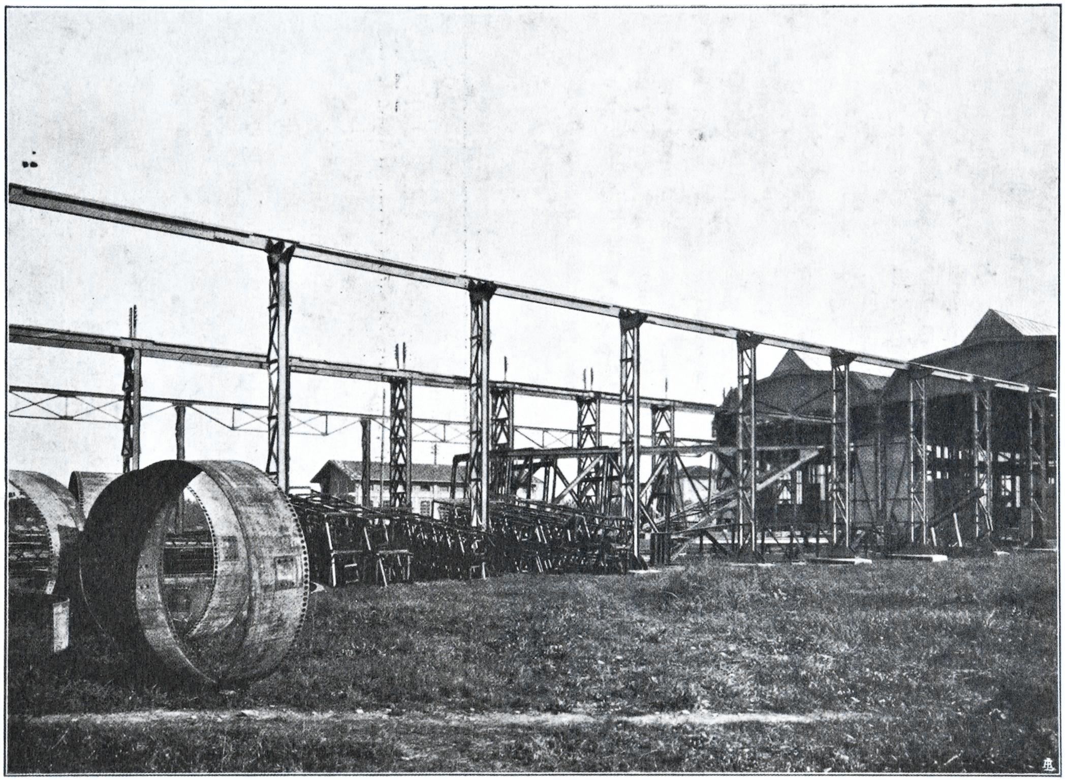 Officine di Battaglia, Parco ferro e materiali lavorati (1925).