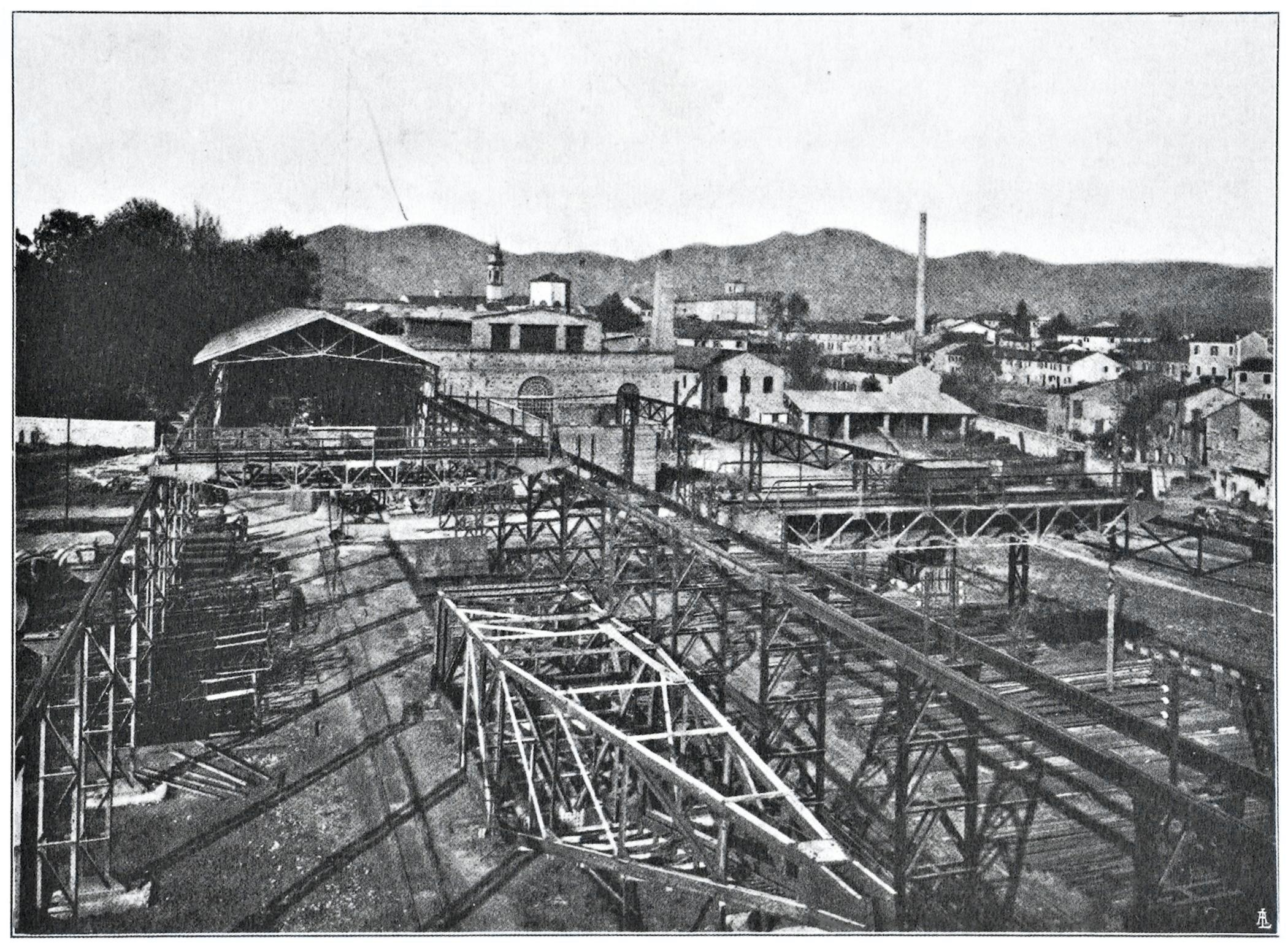 Officine di Battaglia, veduta generale del Parco ferro (1925).