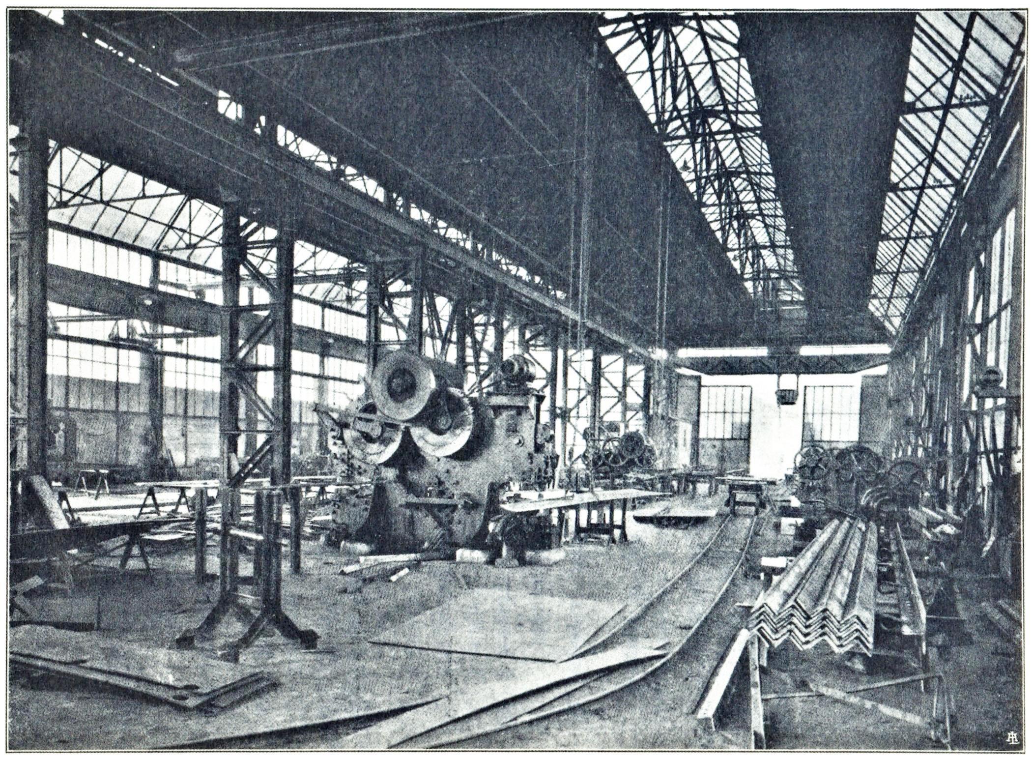 Officine di Battaglia, reparto Carpenteria (1925).