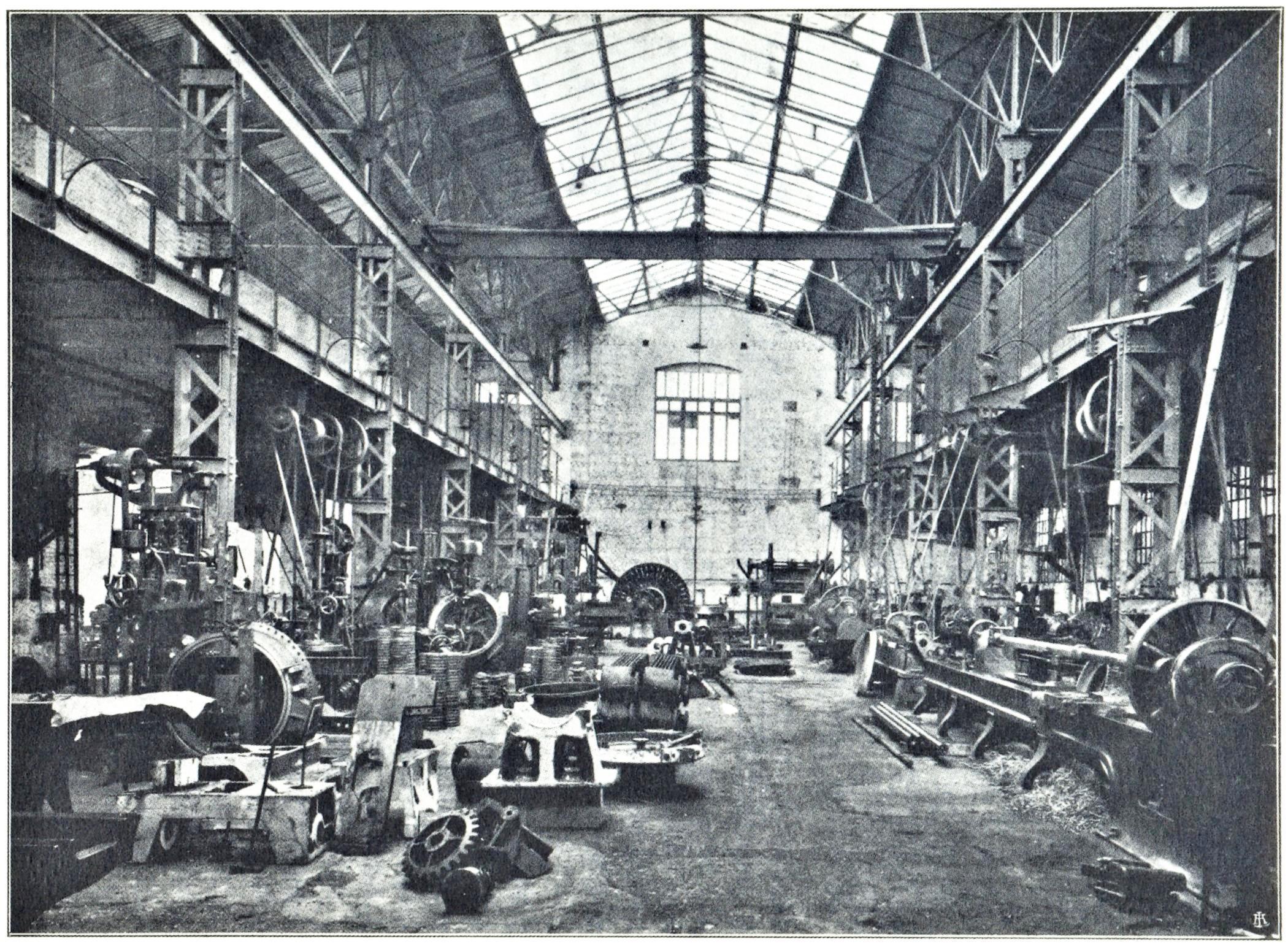 Officine di Battaglia, reparto Meccanica (1925).