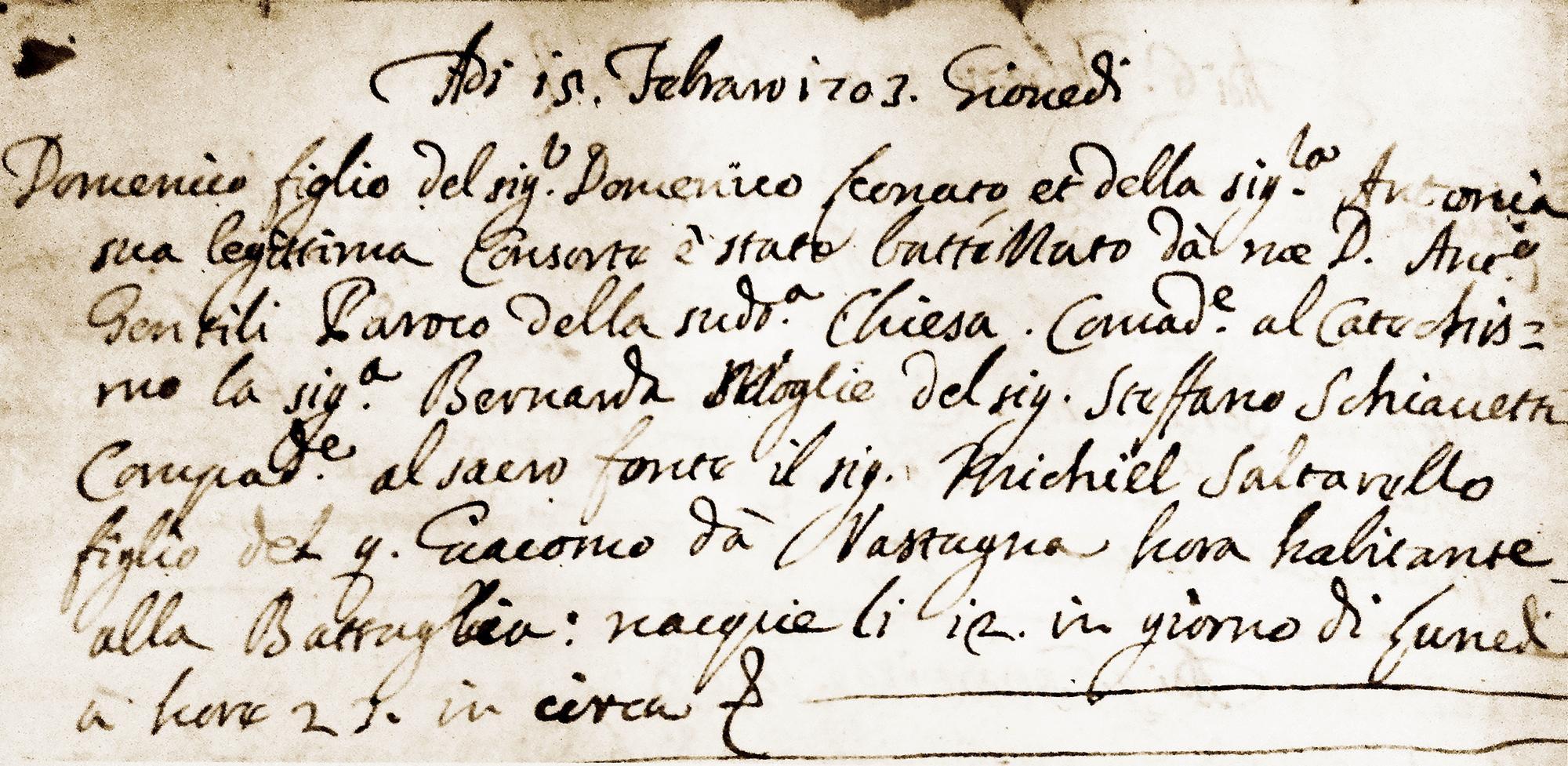 Atto di nascita e battesimo di don Domenico Leonati. Parrocchia di Battaglia Terme.